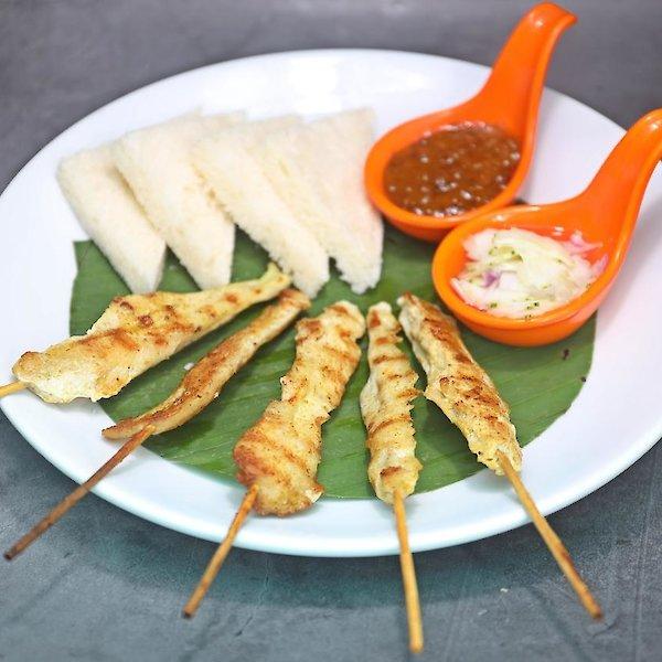Chicken Satay & Butter Bread