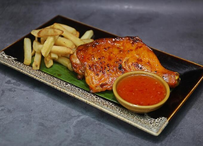 Grilled chicken thigh with French Fries