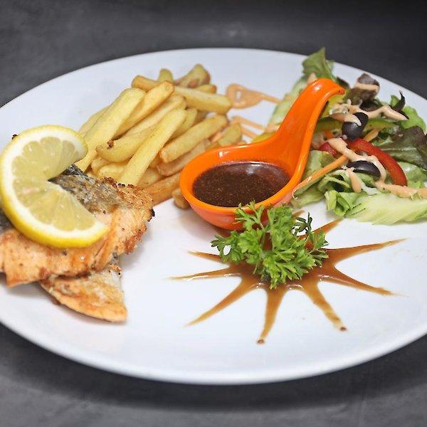 Salmon Steak (200g) with French Fries or Fried Potato or Mash Potato