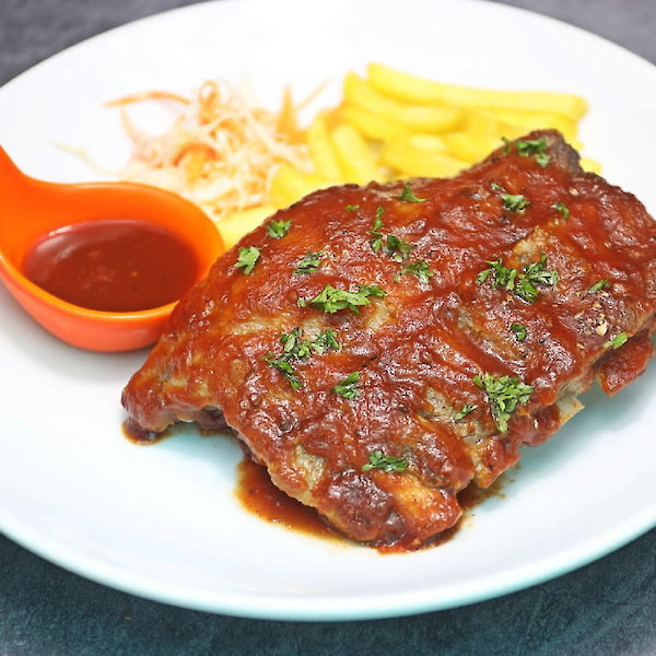 Grilled Pork Ribs BBQ (1,000 g) with French Fries or Fried Potato or Mash Potato