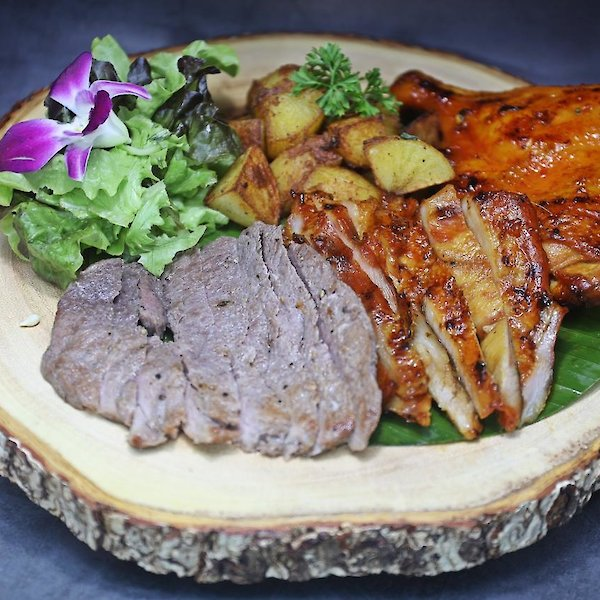 Grilled chicken thigh, Grilled Pork, Grilled Beef & French Fries or Fried Potato or Mash Potato