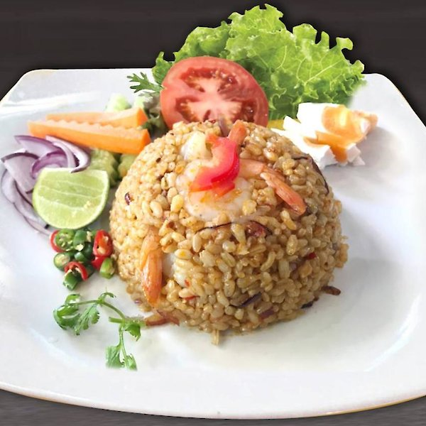 Chili in oil fried rice with prawn