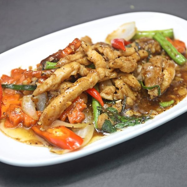 Stir-fried Crocodile Meat with Basil