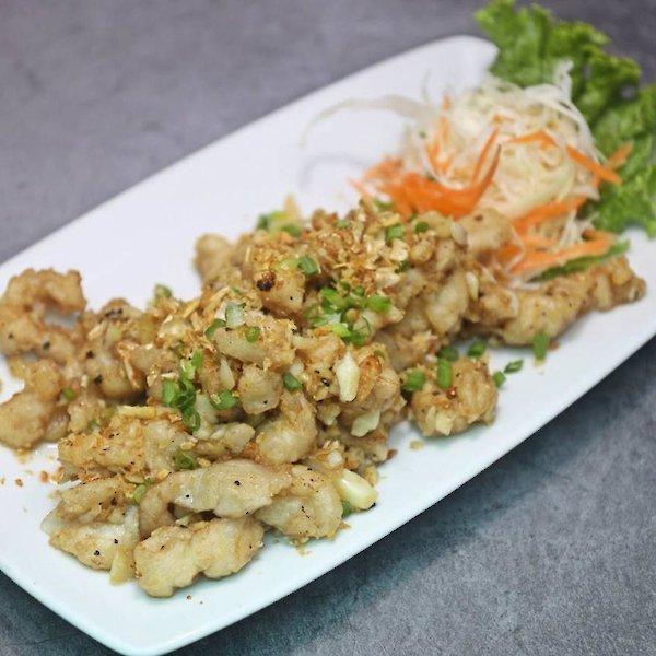 Deep Fried Crocodile Meat with Garlic