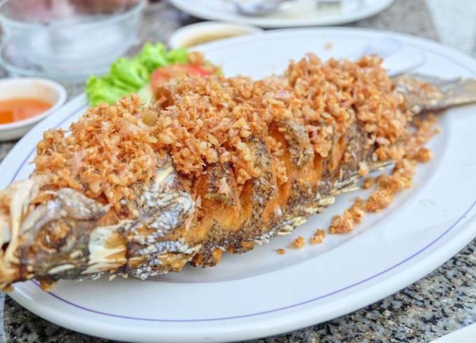 "Deep fried fish ""white sea bass"" with Garlic"