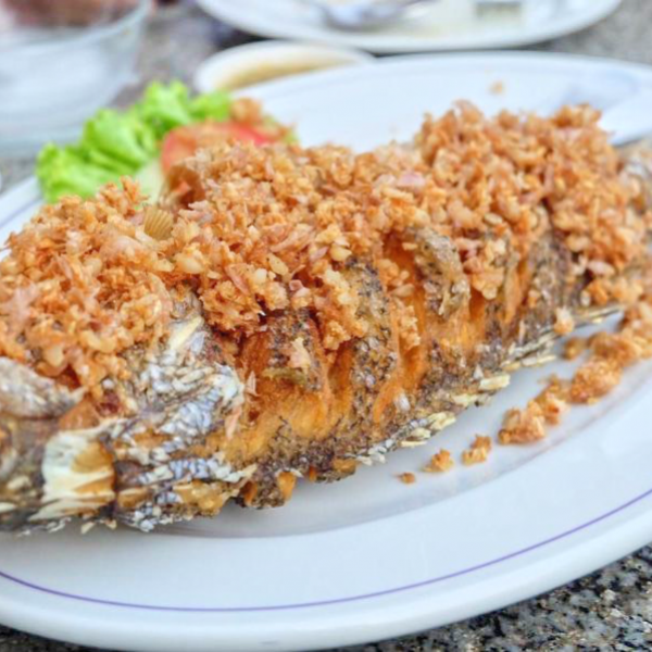 "Deep fried fish ""white sea bass"" with Garlic"